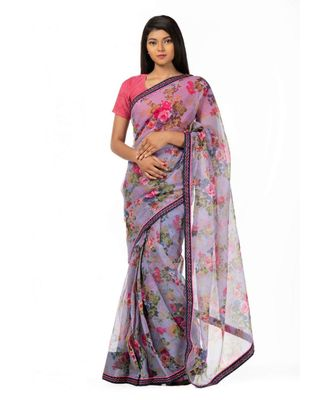 Voilets and lilies Wrap in 1 Minute saree