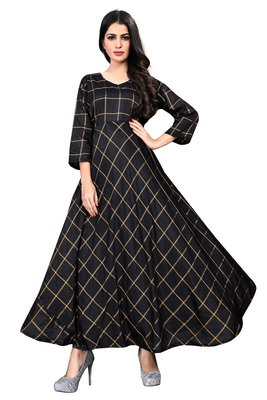 Black Checkered Vichitra Silk Kurtis.