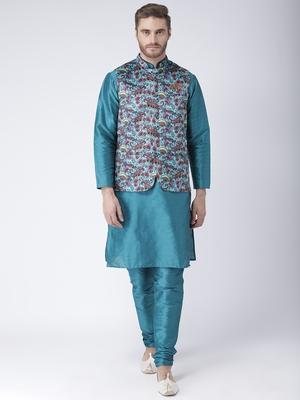 Multicolor cotton 3Pcs Kurta Pajama Waistcoat