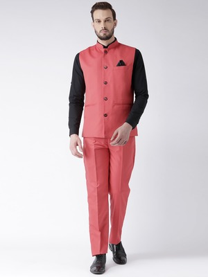 red plain cotton stitched nehru jacket and trousers