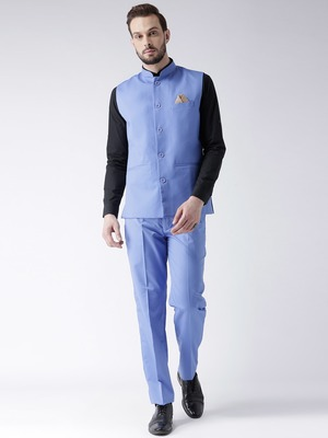 Blue Plain Cotton Stitched Nehru Jacket And Trousers