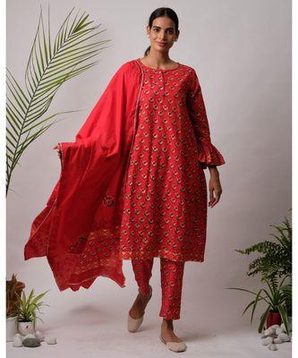 red Aabha cotton Kurta,Pant And Dupatta Set of three