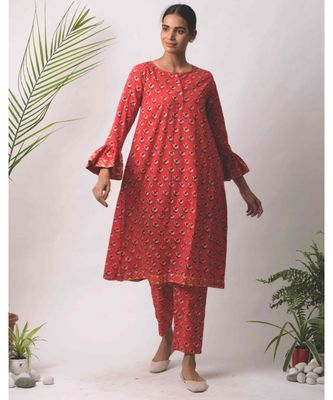 red Aisha cotton Kurta