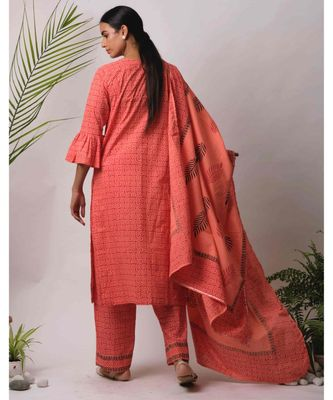 peach Avni cotton Kurta,Pant And Dupatta Set of three