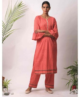 peach Afsha cotton Kurta