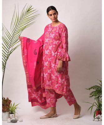Pink Chaaya cotton Kurta,Pant And Dupatta Set of three
