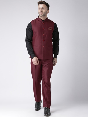Maroon plain cotton stitched nehru jacket and trousers