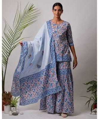 turquoise Daksha cotton Kurta,Sharara And Dupatta Set of three