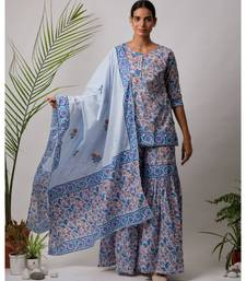 turquoise Daksha cotton Kurta,Sharara And Dupatta Set of three