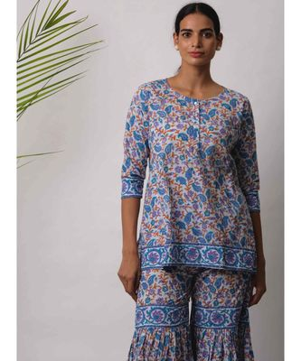 turquoise Bodhi cotton Kurta