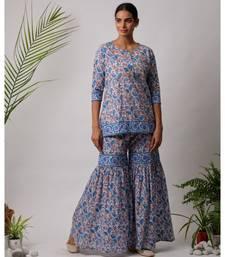 turquoise Dhriti cotton Kurta And Sharara Hand Block Set