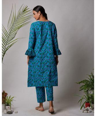 Blue Damini cotton kurta,Pant And Dupatta Set of three