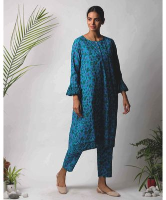 Blue Darika cotton Kurta And Pant Set