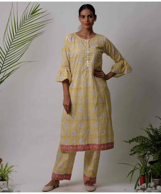 Yellow Eta cotton Kurta And Pant Set