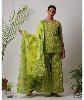 green Ella cotton Kurta,Sharara And Dupatta Set of three