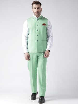 green plain cotton stitched nehru jacket and trousers