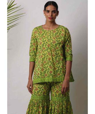 green Eeshta cotton Kurta