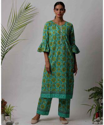 Green  Faiza cotton Kurta And Pant Set