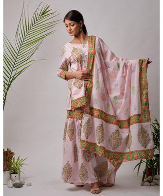 pink Hiral cotton Kurta,Sharara And Dupatta Set of three
