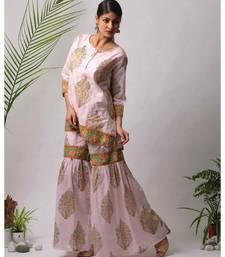 pink Hema cotton Kurta And Sharara Set of two