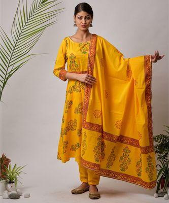 Yellow Imana cotton Kurta,Pant And Dupatta Set of three