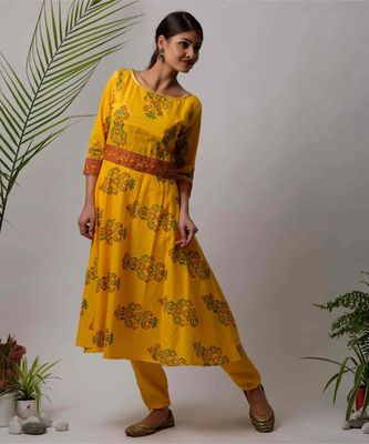 Yellow Isha cotton Kurta And Pant Set