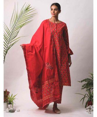 red Aria cotton Dupatta
