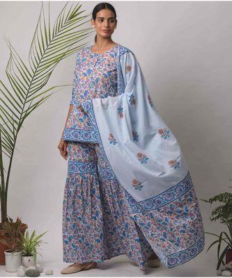 turquoise Diya cotton Dupatta