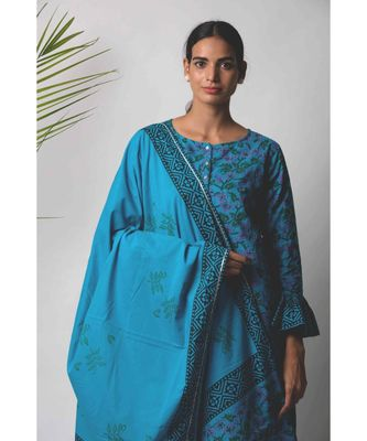 Blue Disa cotton Dupatta