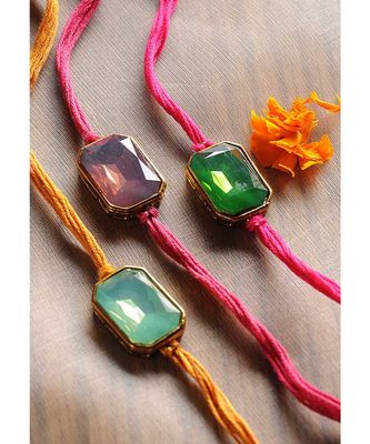 Handmade Crystal  Rakhis - Set Of 3