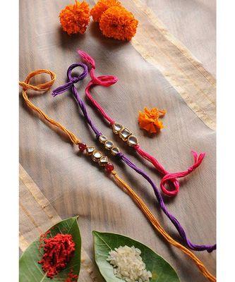Handmade Kundan Work  Rakhis - Set Of 3
