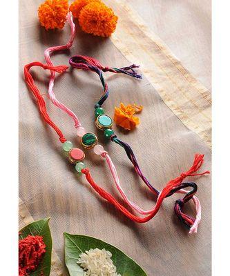 Handmade Marble Stone Rakhis - Set Of 3