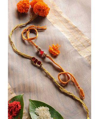 Handmade Enamel And Semi Precious Stone Rakhis - Set Of 2