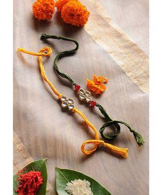 Handmade Kundan Work Rakhis - Set Of 2