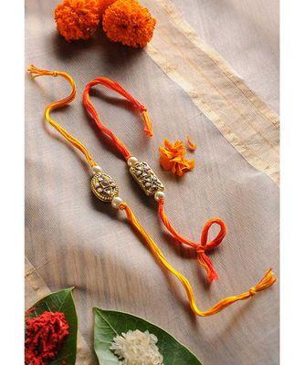 Handmade Kundan Work Gold Foiled Rakhis - Set Of 2