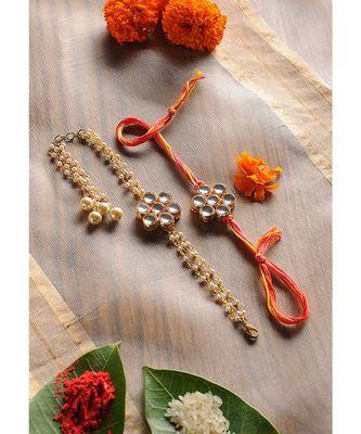 Handmade Kundan Work Rakhi And Lumba Set