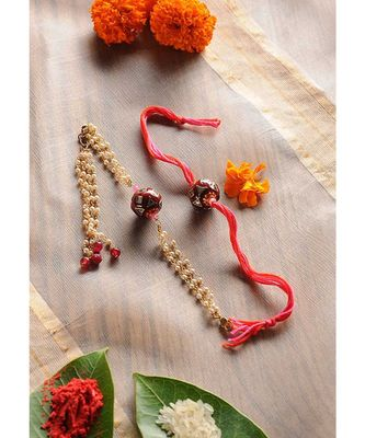 Handmade Kundan Meenakari Rakhi And Lumba Set