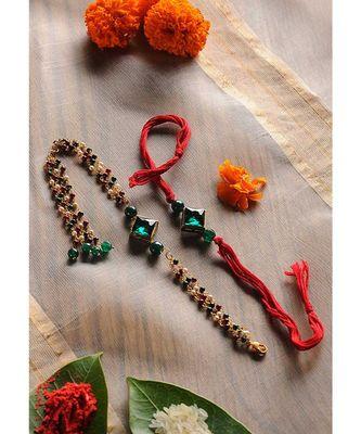 Handmade Crystal Rakhi And Lumba Set