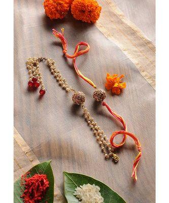 Handmade Meenakari Rakhi And Lumba Set