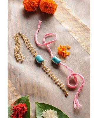 Handmade Turquoise Stone Rakhi And Lumba Set