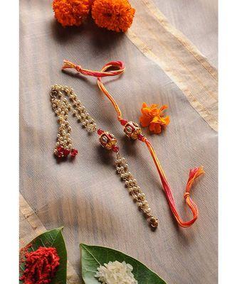 Handmade Meenakari Kundan Rakhi And Lumba Set