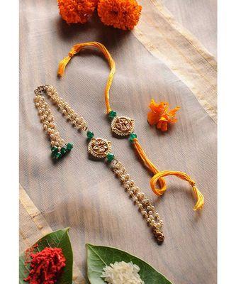 Handmade Kundan Pearl Work Rakhi And Lumba Set