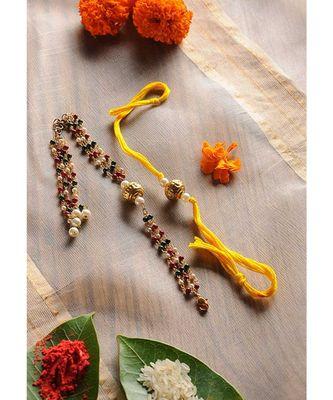 Handmade Beaded Rakhi And Lumba Set