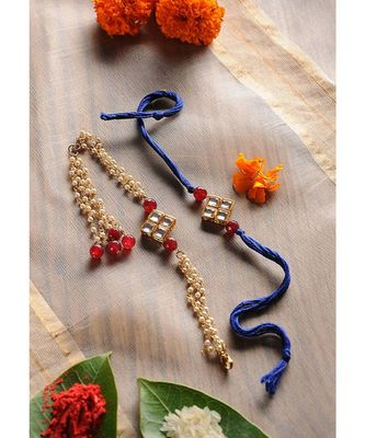 Handmade Kundan Rakhi and Lumba Set