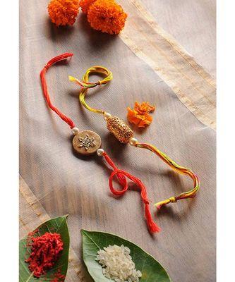 Handmade Kundan Thewa Rakhis - Set Of 2