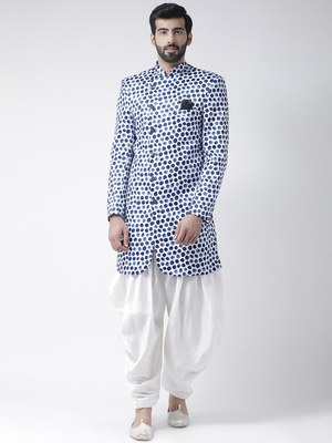 White Printed Polyester Stitched Indo Western Dresses