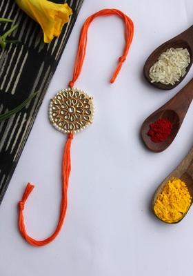 Orange Handcrafted Kundan Inspired Rakhi With Pearls