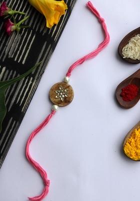Pink Handcrafted Kundan Inspired Wooden Rakhi