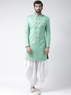 Green Plain Polyester Stitched Indo Western Dresses