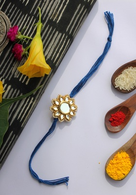 Blue Handcrafted Kundan Inspired Rakhi With Pearls